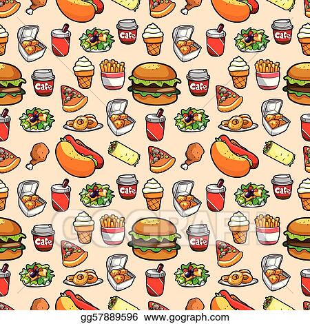 Vector Art Seamless Fast Food Pattern Eps Clipart Gg57889596