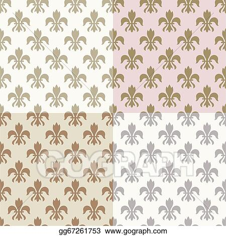 vector art seamless gold fleur de lys pattern eps clipart