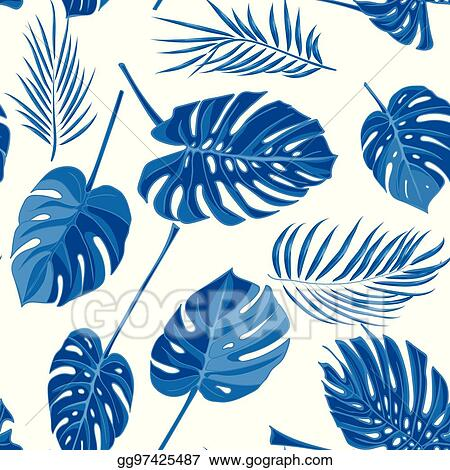 Vector Illustration Seamless Hand Drawn Tropical Pattern With Palm Leaves In Blue Color Jungle Exotic Leaf On White Background Eps Clipart Gg97425487 Gograph Blue tropical leaves in repeat patt. https www gograph com clipart license summary gg97425487