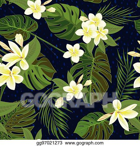 Clip Art Vector Seamless Hand Drawn Tropical Pattern With