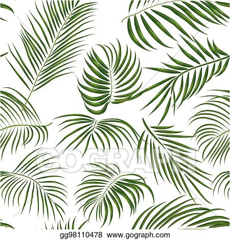 Vector Art Seamless Hand Drawn Tropical Pattern With Palm