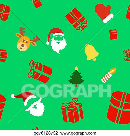 Seamless Holiday Background With Cute Christmas Characters Santa Clause Bell Gift Box And Reindeer