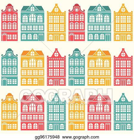 Vector Stock - Seamless house pattern - dutch, amsterdam ...