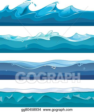 vector stock seamless ocean sea water waves vector backgrounds rh gograph com Crashing Waves Clip Art Wave Outline Clip Art