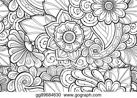 Vector Illustration Seamless Ornamental Black And White