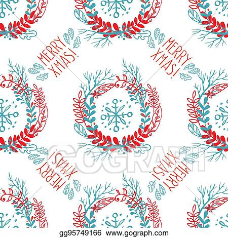 Drawings Of Christmas Wreaths.Drawings Seamless Pattern Of Christmas Wreaths Stock