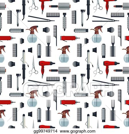 Vector Stock Seamless Pattern Of Hairdresser Objects In Flat Style