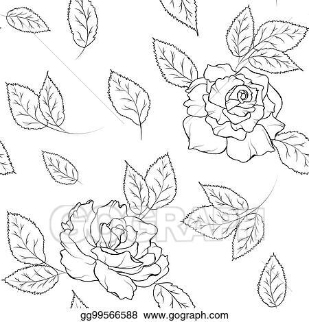 Clip Art Vector Seamless Pattern Rose Flowers Leaves Black White Stock Eps Gg99566588 Gograph