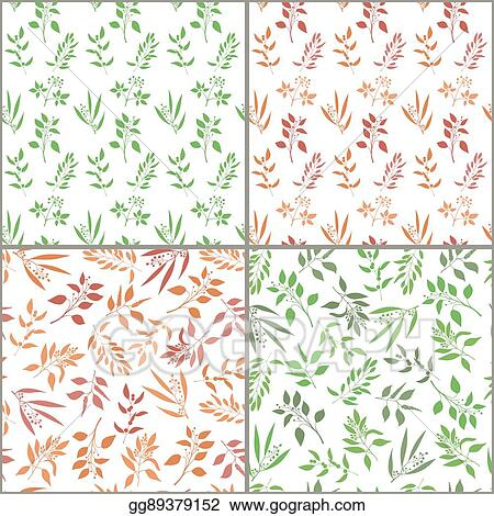 Seamless Pattern Set With Orange And Green Twigs Silhouette