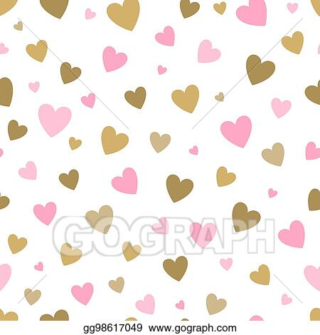 Eps Vector Seamless Pattern White Background With Pink And Gold