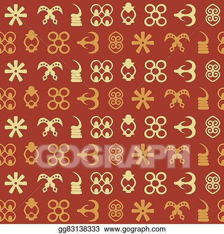 vector stock seamless pattern with adinkra stock clip art