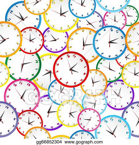 Clock colorful. Eps vector seamless pattern
