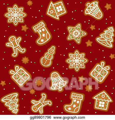 Vector Illustration Seamless Pattern With Gingerbread Christmas