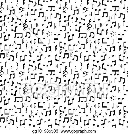 Vector Stock - Seamless pattern with music notes  hand drawn