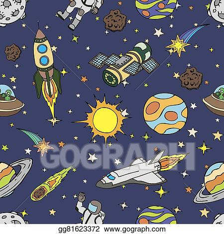 Vector Clipart Seamless Pattern With Outer Space Doodles Symbols