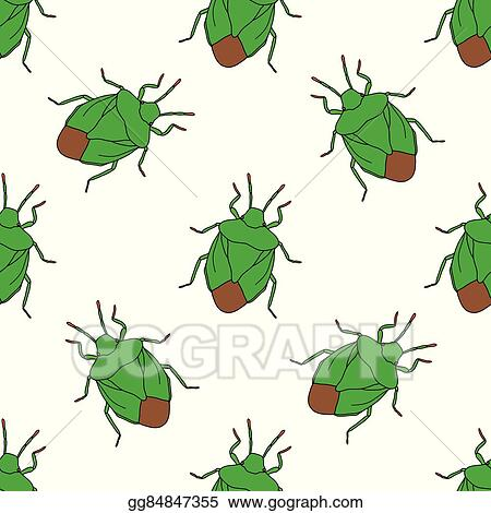 Vector Stock - Seamless pattern with shield bug. palomena prasina ...