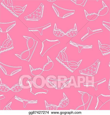 cfad8f20c7 Seamless pattern with underwear illustration. Vector bras and panties  design.