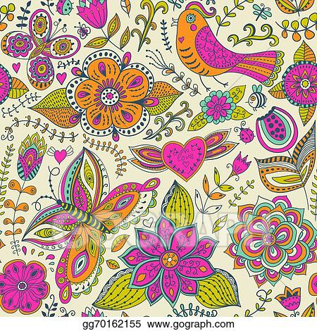 Seamless Texture With Flowers Birds And Butterflies Use For Wallpaper Pattern Fills Web Page Background Surface Textures Cute Animals In Forest