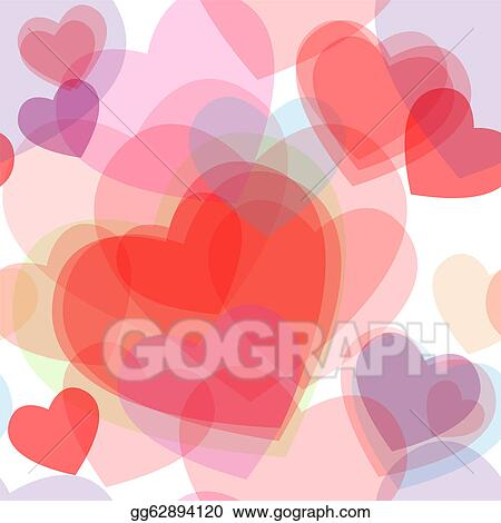 Vector Stock Seamless Transparent Multicolor Hearts Pattern