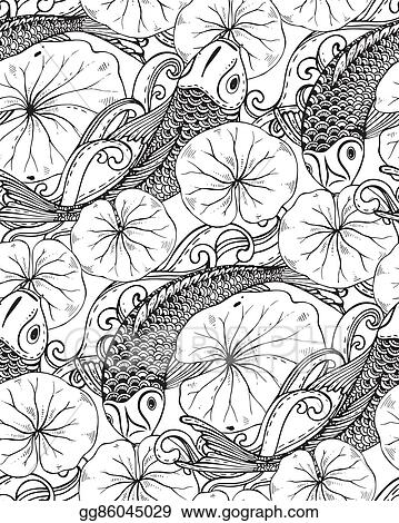 288f634ee58f1 Vector Clipart - Seamless vector pattern with hand drawn koi fish ...