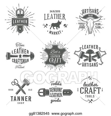 Highest Quality Guaranteed Genuine Label Second Set Of Grey Vector Vintage Craftsman Logo Designs Retro Leather Tool Labels