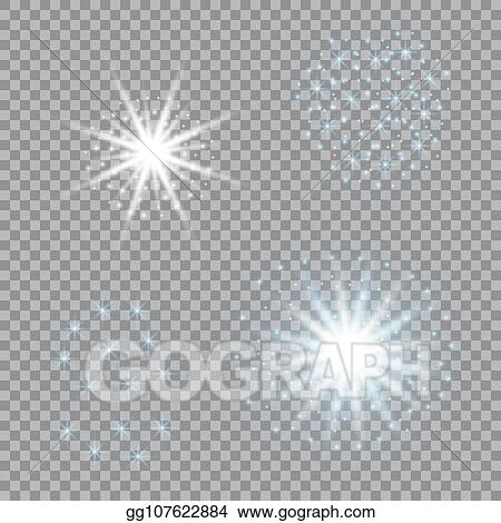 Clip Art Vector Selection Of Light Stars On A Transparent