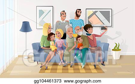 Vector Art Selfie Photo Of Big Happy Family Cartoon Vector Eps Clipart Gg104461373 Gograph