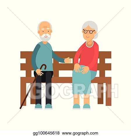 Incredible Vector Art Senior Couple Sitting On The Wooden Bench Ocoug Best Dining Table And Chair Ideas Images Ocougorg