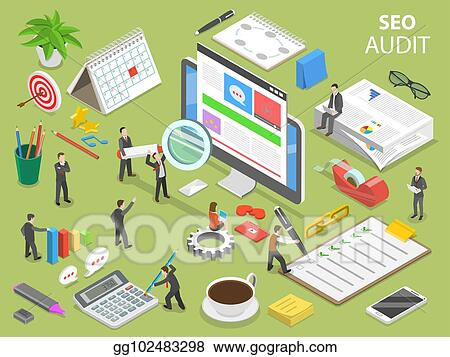 seo audit flat isometric vector concept