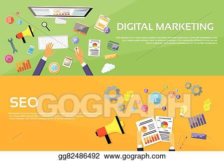 Vector Art Seo Digital Marketing Web Designer Workplace Banner Clipart Drawing Gg82486492 Gograph