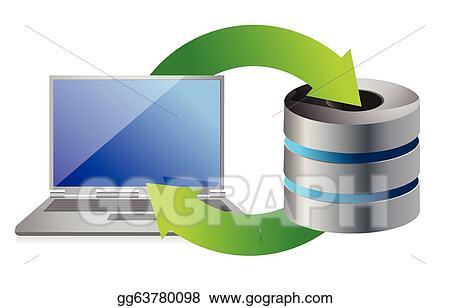 Eps illustration server and laptop database backup vector clipart server and laptop database backup ccuart Images