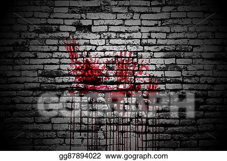 Stock Illustration - Set 8  bloody handprint on brick wall