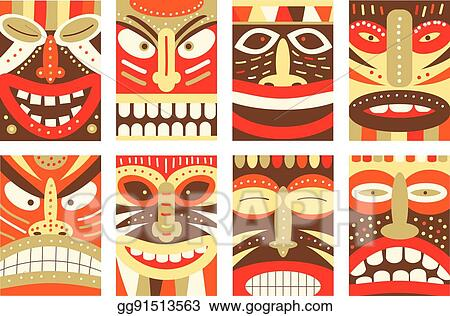 vector clipart set banner background flyer placard with tiki