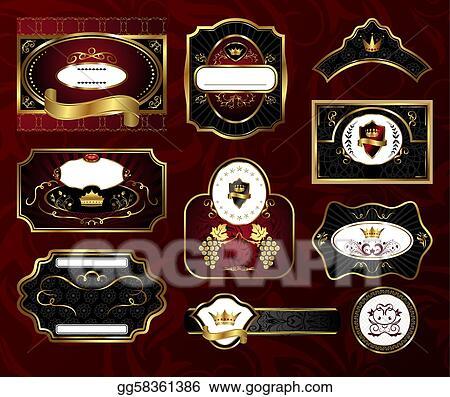 9ff84988225 Vector Illustration - Set black gold-framed labels. Stock Clip Art ...