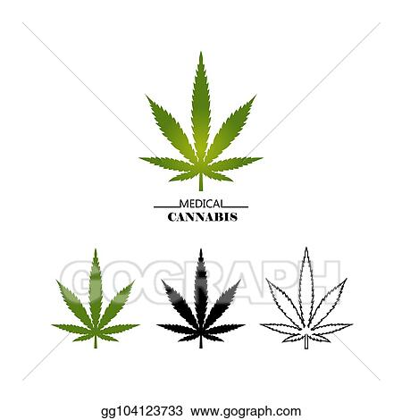 Vector Clipart Set Different Logo Marijuana Leaves Isolated On White Background Medical Cannabis Green Black And Thin Line Leaf Vector Flat Illustration Vector Illustration Gg104123733 Gograph