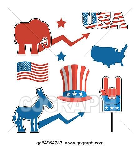 Vector Stock Set Elections In America Uncle Sam Hat American