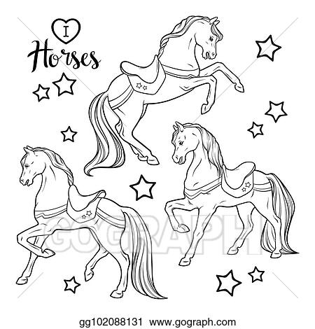 Vector Art - Set horses. coloring book pages. Clipart ...