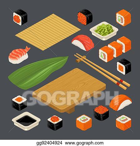 Vector Illustration Set Icon Sushi Nigiri And Rolls