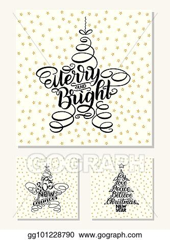 set new year greeting cards lettering design vector illustration black letters isolated on white background with golden stars 365 new chances merry and
