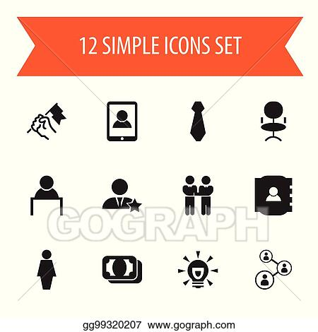 b77cf9d93 Set Of 12 Editable Job Icons. Includes Symbols Such As Agreement, Ergonomic  Seat, Contact Book And More. Can Be Used For Web, Mobile, UI And  Infographic ...