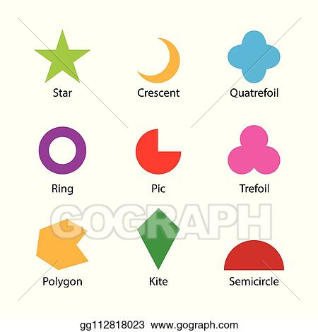 Vector Illustration - Set of 2d shapes vocabulary in english