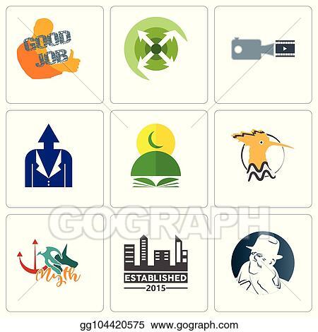 f3dbe416b Set Of 9 simple editable icons such as free detective, established, myth