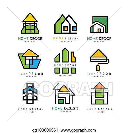 Vector Art Set Of Abstract Linear Logos For Construction Or