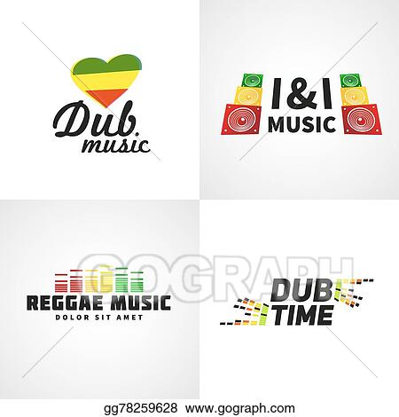 vector illustration set of africa flag logo design jamaica music