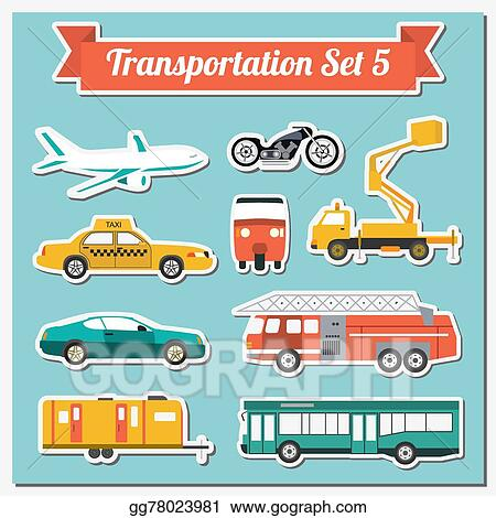 Vector Stock - Set of all types of transport icon   Clipart