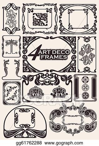 Vector Stock Set Of Ancient Frames In Art Deco Style Clipart