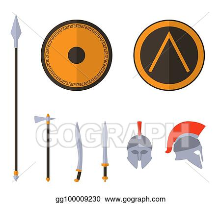 Vector Stock Set Of Ancient Greek Spartan Weapon And Protective