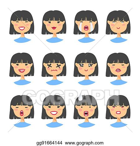 Vector Stock - Set of asian emoji character  cartoon style