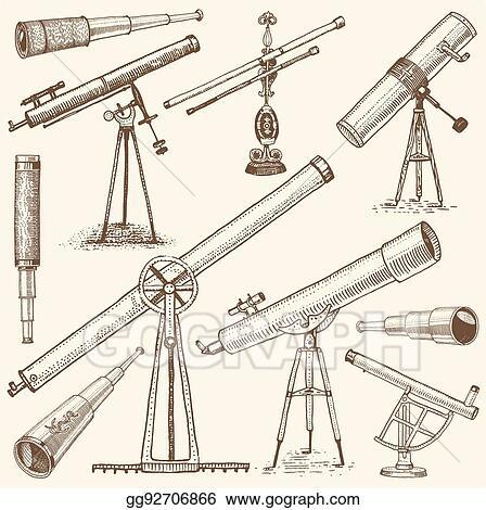 Clip Art Vector - Set of astronomical instruts, telescopes ...