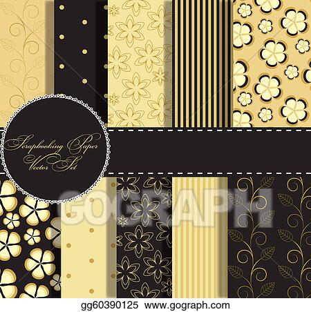 Clip Art Vector Set Of Beaautiful Vector Gold And Black Paper For